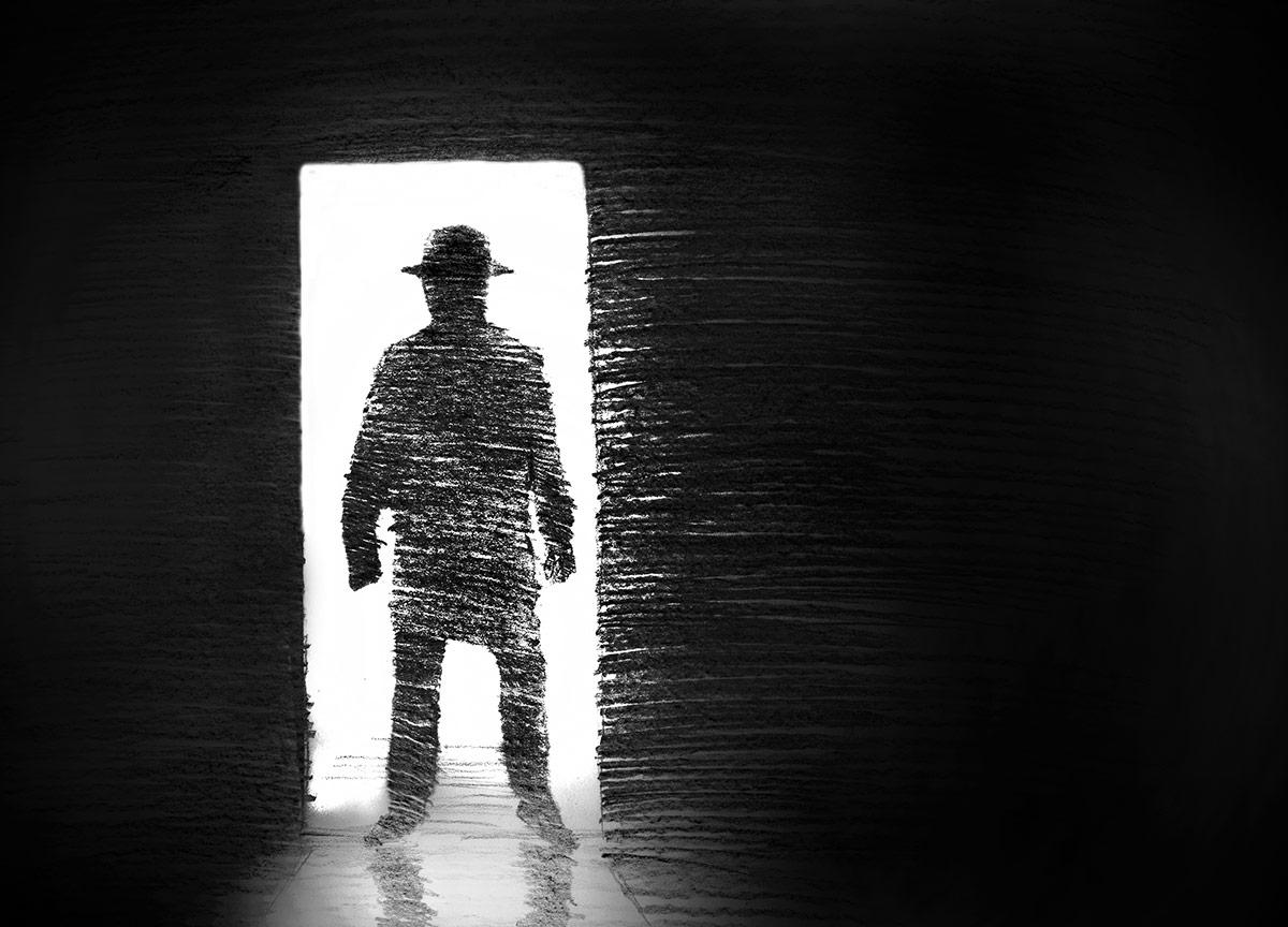 hat-man in doorway
